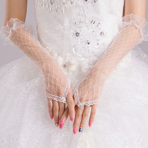 Accessories - nip Elbow Length Grid Lace Gloves white S/M